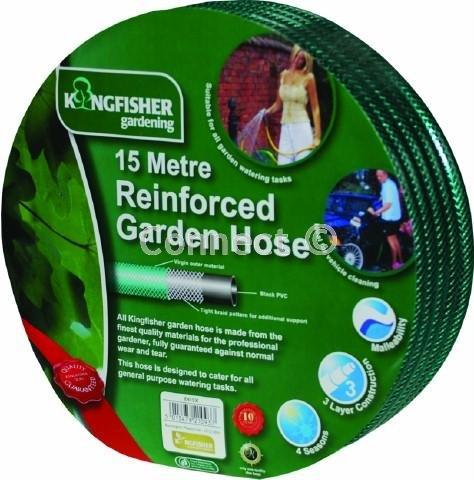 Kingfisher 15 metre reinforcedgarden hose shrink wrapped with a full colour label