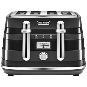Delonghi CTA4003.BK Avvolta 4 Slice Toaster 1800W 2 Year Warranty Black